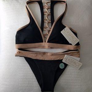 L*Space Black Bralette Bikini Set